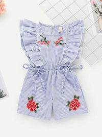 Toddler Girls Floral Embroidery Ruffle Striped Jumpsuit
