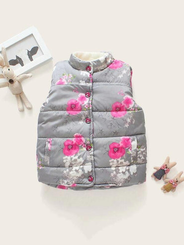 Toddler Girls Floral Fleece Lined Puffer Vest