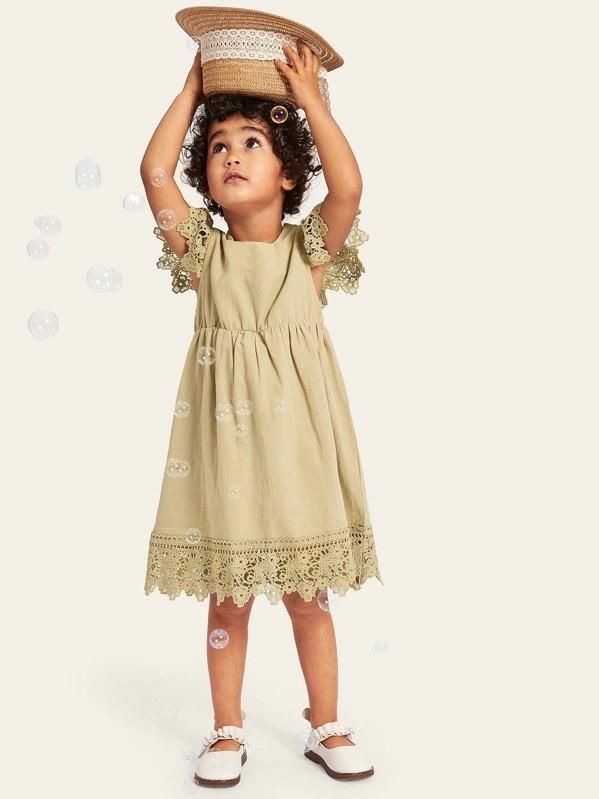 Toddler Girls Floral Lace Insert Babydoll Dress