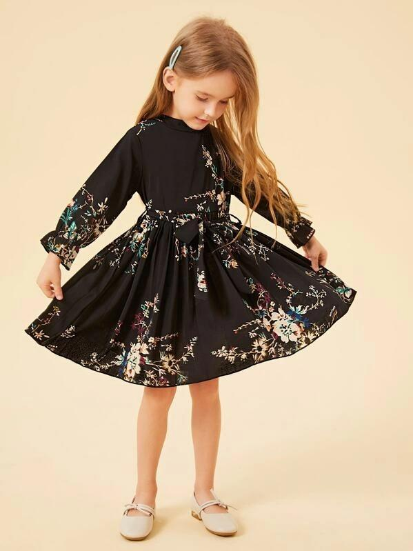 Toddler Girls Floral Print Belted Dress