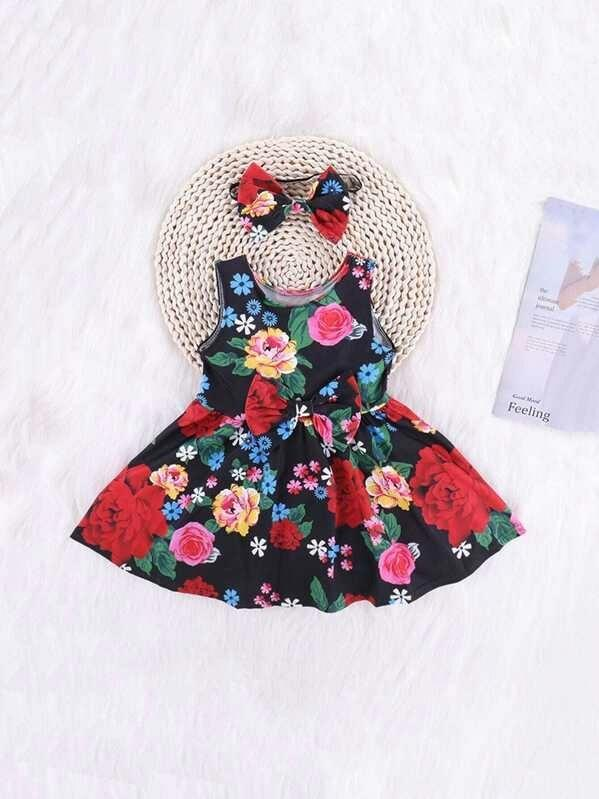 Toddler Girls Floral Print Bow Front A-Line Dress With Headband