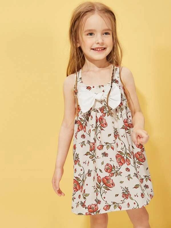 Toddler Girls Floral Print Bow Front Slip Dress