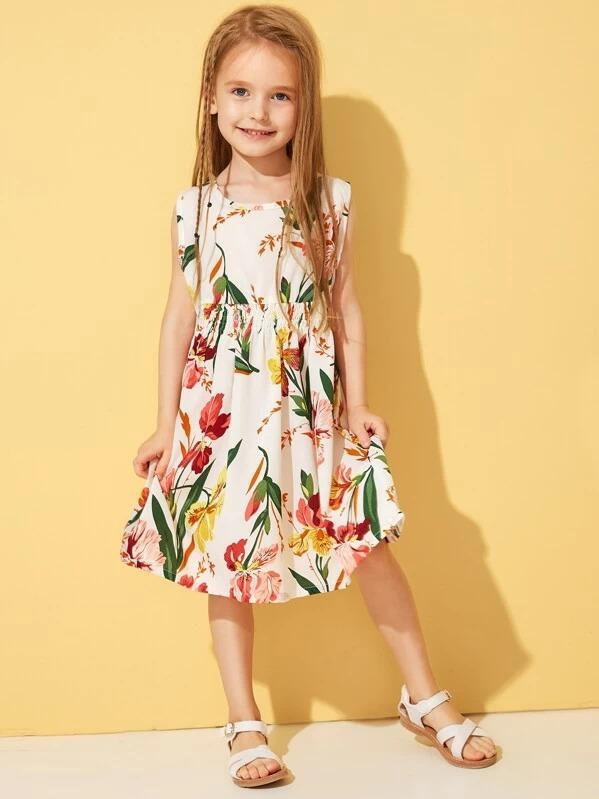 Toddler Girls Floral Print Button Keyhole Dress