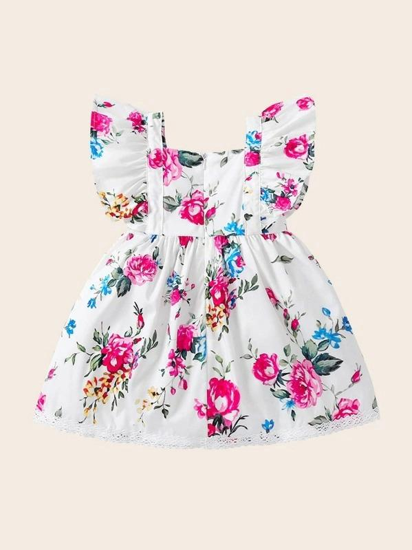 Toddler Girls Floral Print Contrast Lace A-Line Dress
