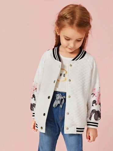 Toddler Girls Floral Print Contrast Trim Bomber Jacket