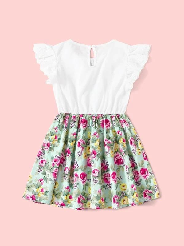 Toddler Girls Floral Print Eyelet Embroidery Combo A-Line Dress