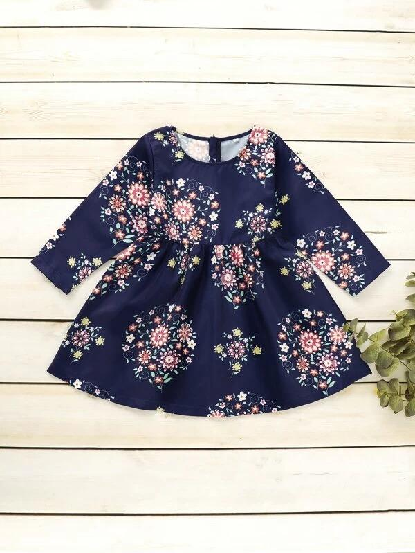 Toddler Girls Floral Print Flare A-Line Dress