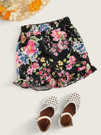 Toddler Girls Floral Print Frill Hem Shorts