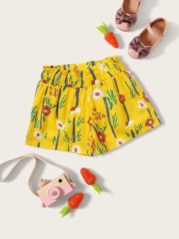 Toddler Girls Floral Print Frill Trim Shorts