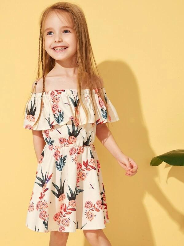 Toddler Girls Floral Print Off-Shoulder Ruffle Trim A-Line Dress