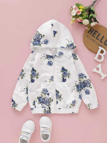 Toddler Girls Floral Print Pocket Front Jacket
