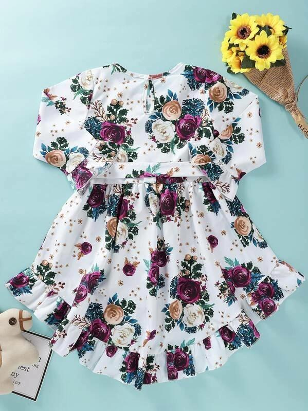 Toddler Girls Floral Print Ruffle Hem Belted Dress