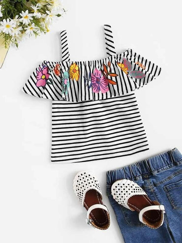 Toddler Girls Floral Print Striped Cami Blouse