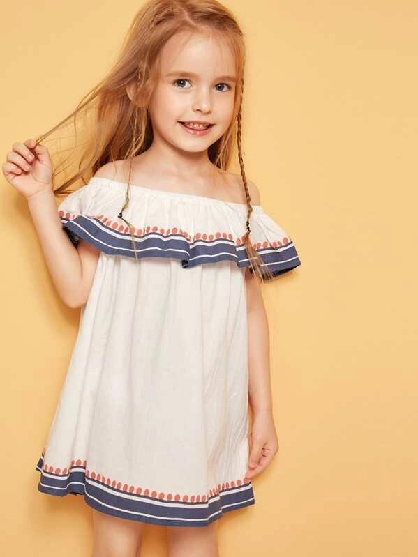 Toddler Girls Flounce Off Shoulder Striped Dress