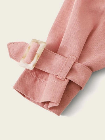Toddler Girls Frill Neck Ruffle Buckle Cuff Coat