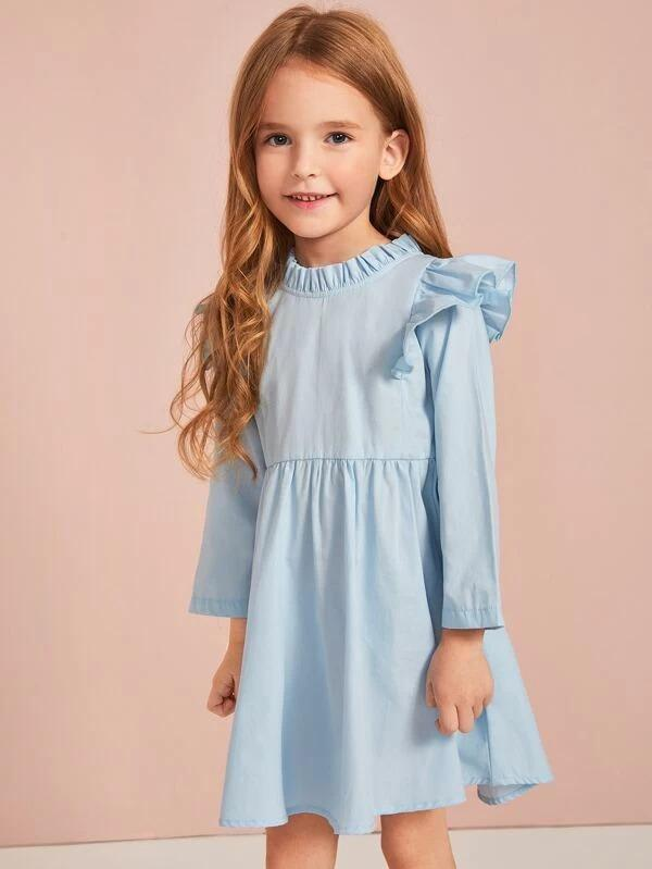 Toddler Girls Frill Neck Ruffle Trim Dress Without Bag