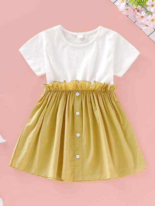 Toddler Girls Frill Trim Button Front Combo Dress