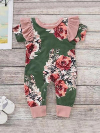 Toddler Girls Frill Trim Floral Print Button Jumpsuit