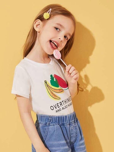 Toddler Girls Fruits & Slogan Print Tee