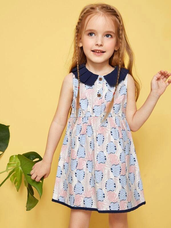 Toddler Girls Geo Print Contrast Collar Dress
