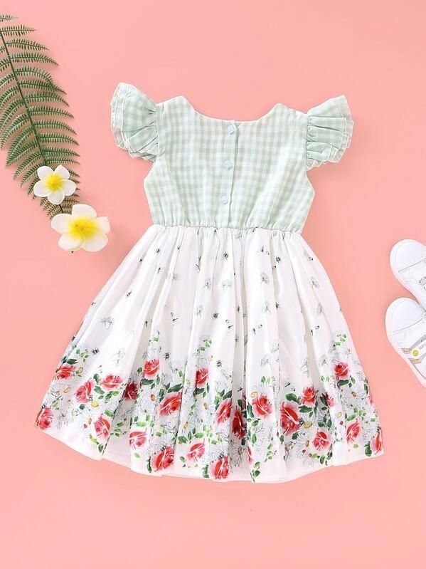 Toddler Girls Gingham And Floral Print Appliques Dress