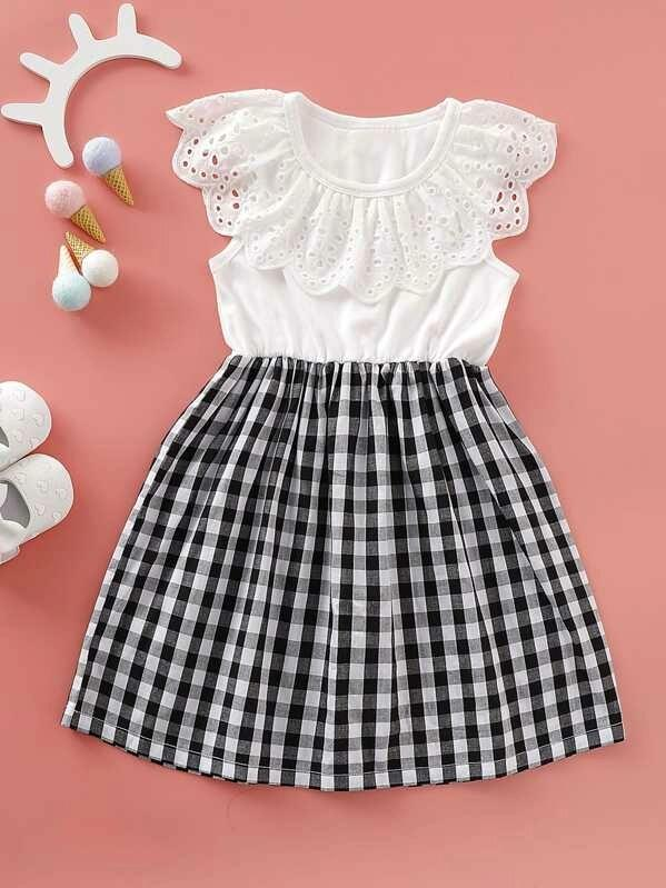 Toddler Girls Gingham Eyelet Embroidery A-Line Dress