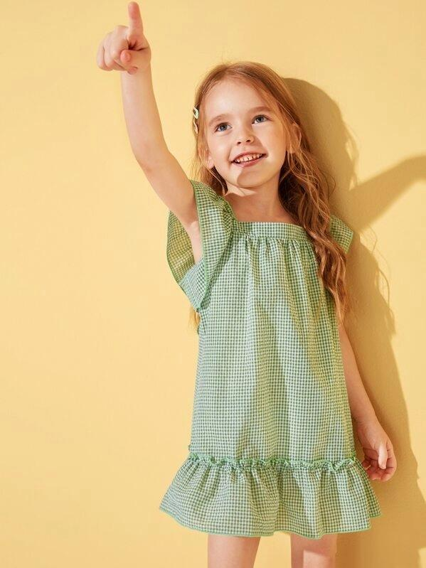 Toddler Girls Gingham Ruffle Trim Bow Detail Dress