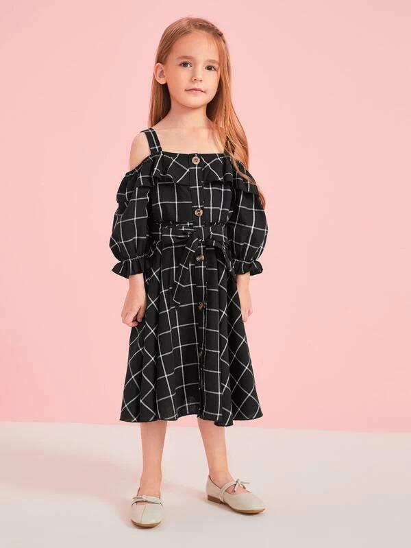Toddler Girls Grid Plaid Ruffle Trim Belted Shirt Dress