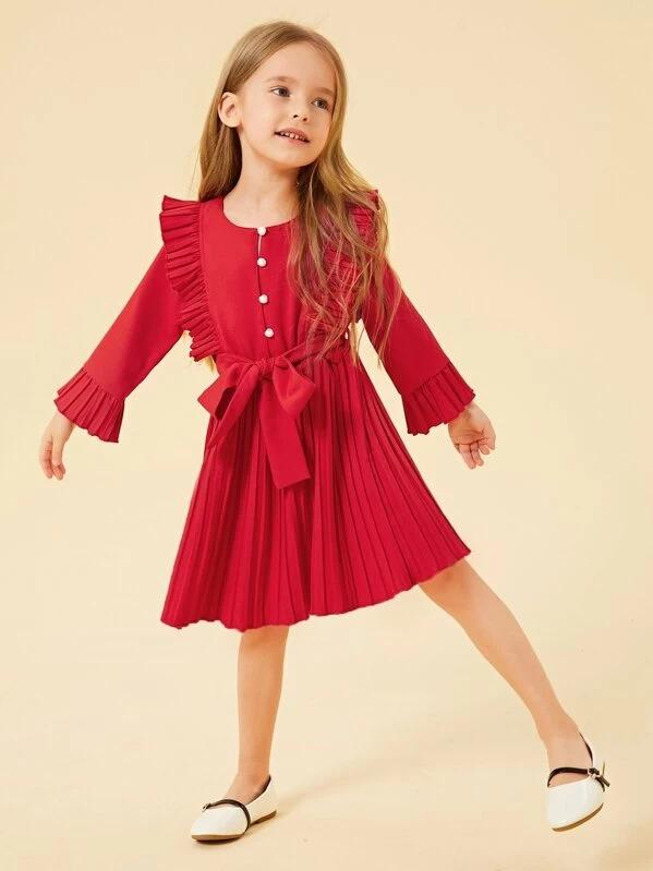 Toddler Girls Half Button Self Tie Pleated Dress
