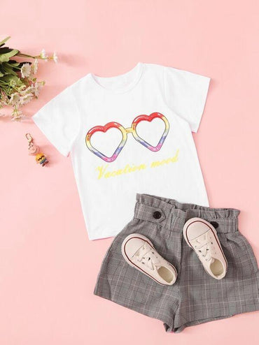 Toddler Girls Heart & Letter Print Tee