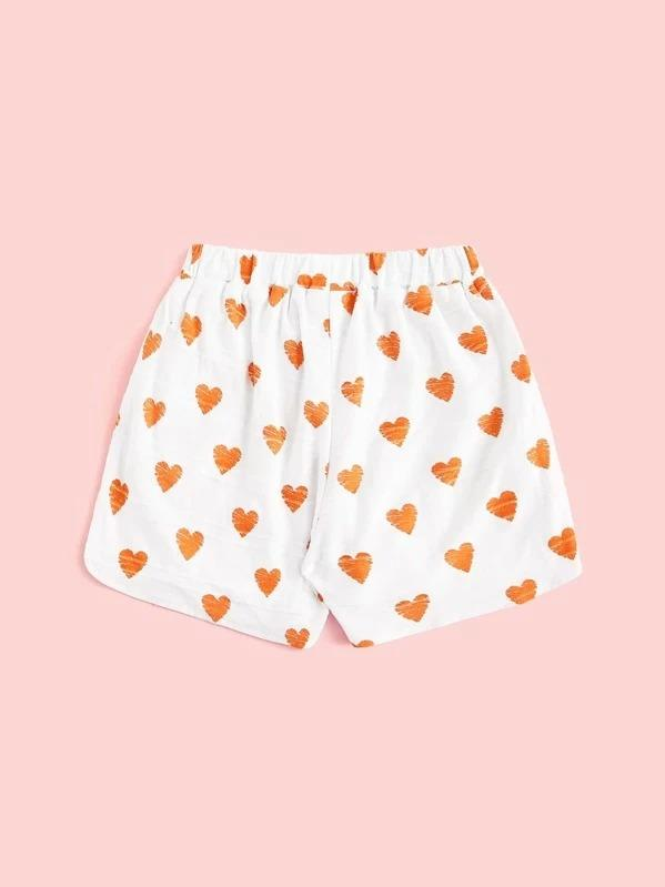 Toddler Girls Heart Print Dolphin Hem Shorts