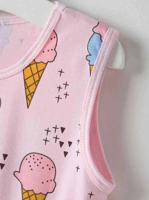 Toddler Girls Ice-Cream Print Sleeveless Dress