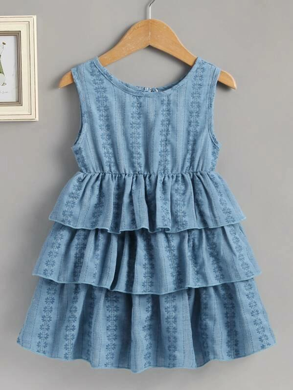 Toddler Girls Jacquard Tiered Layer Button Keyhole Dress