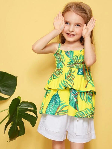 Toddler Girls Jungle Print Layered Ruffle Shirred Cami Top