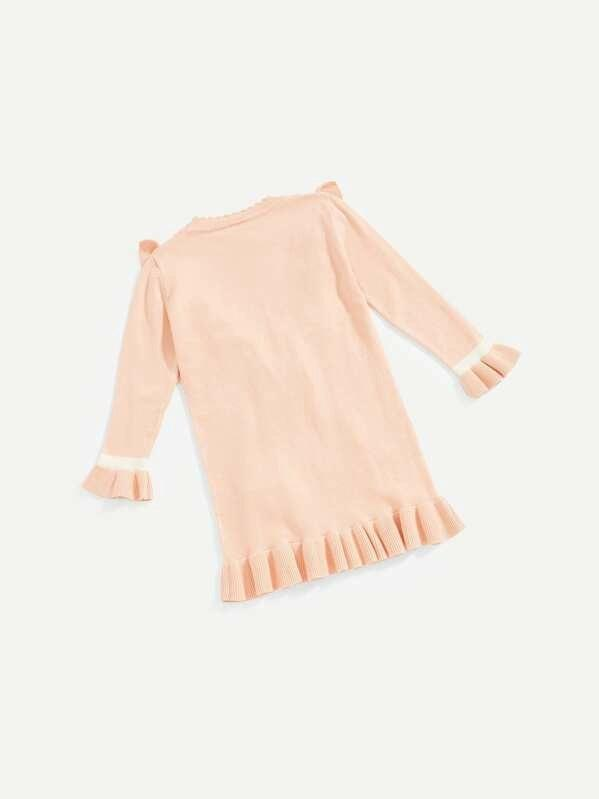 Toddler Girls Knot Detail Ruffle Hem Sweater Dress