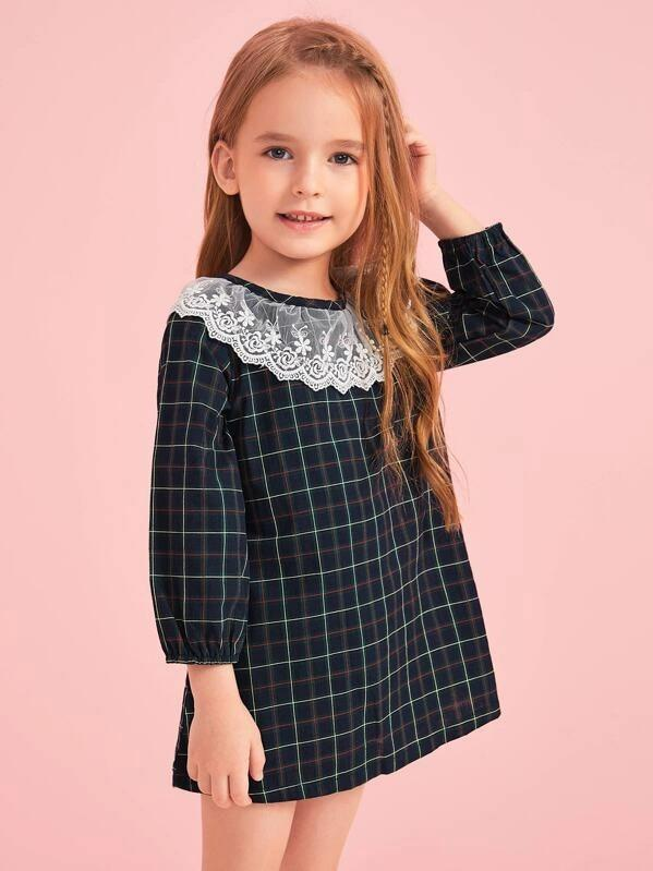 Toddler Girls Lace Panel Bishop Sleeve Plaid Dress