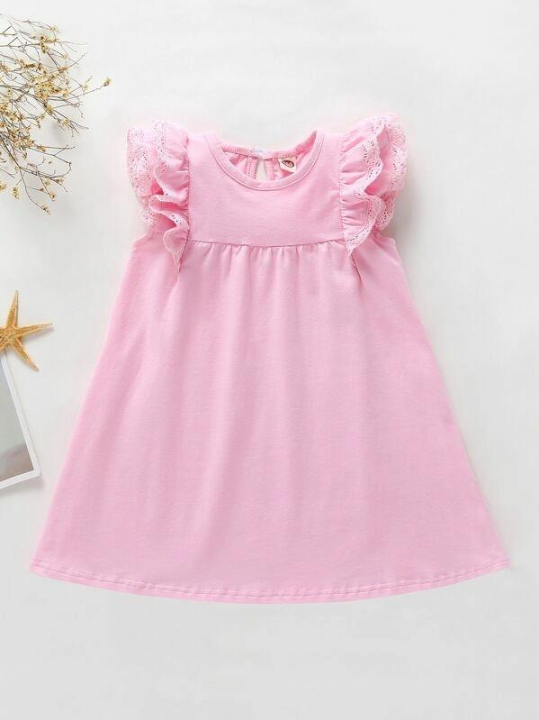 Toddler Girls Lace Panel Ruffle Trim Babydoll Dress