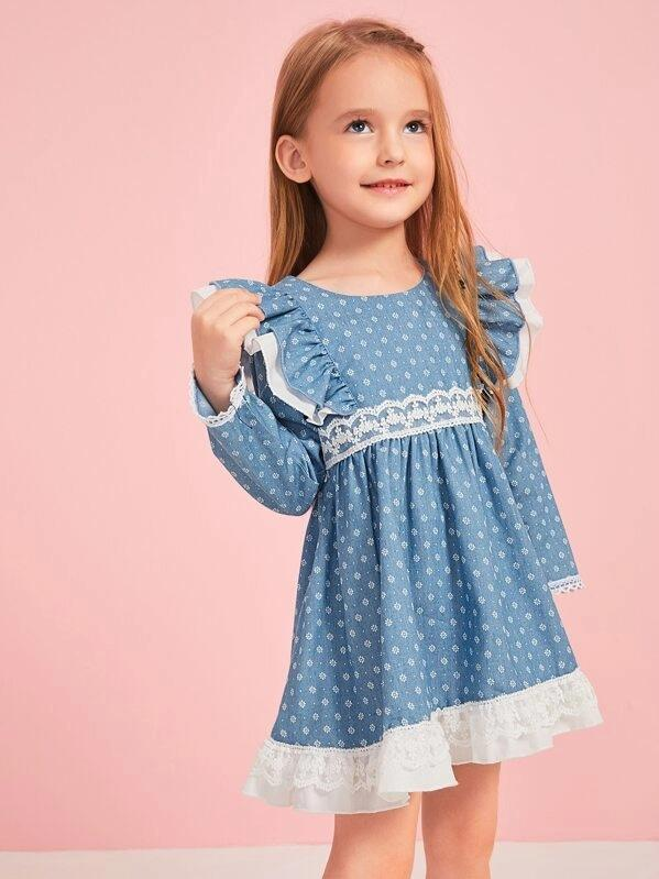 Toddler Girls Lace Panel Ruffle Trim Smock Dress