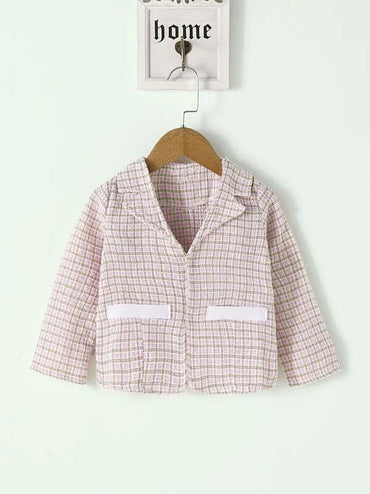Toddler Girls Lapel Fake Pockets Tweed Blazer