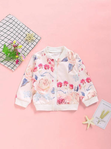Toddler Girls Large Floral Bomber Jacket
