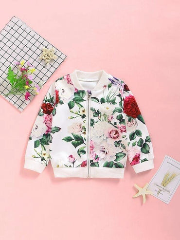 Toddler Girls Large Floral Print Bomber Jacket