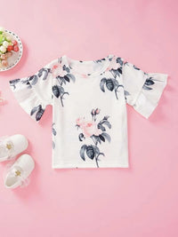 Toddler Girls Large Floral Print Flounce Sleeve Tee