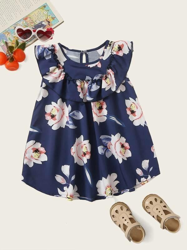 Toddler Girls Large Floral Print Ruffle Trim Dress
