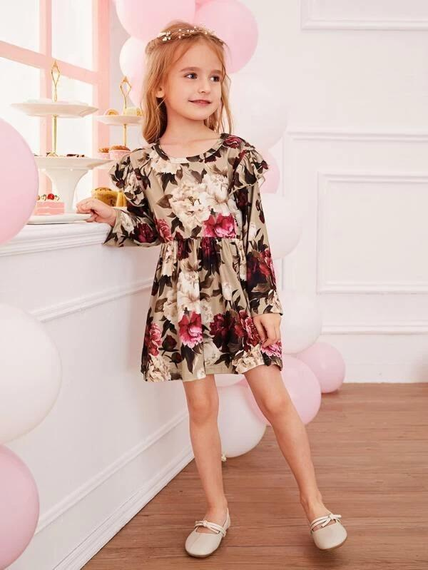Toddler Girls Large Floral Ruffle Trim Swing A-Line Dress