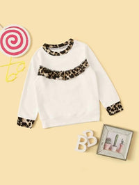 Toddler Girls Leopard Panel Ruffle Trim Sweatshirt