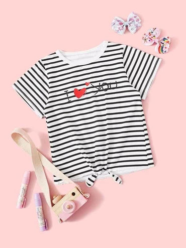 Toddler Girls Letter And Striped Print Knot Hem Tee
