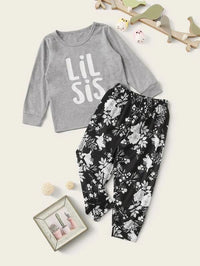 Toddler Girls Letter & Floral Print PJ Set