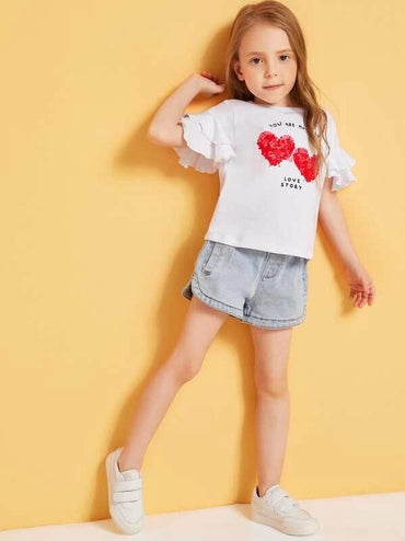 Toddler Girls Letter Print Ruffle Sleeve Tee