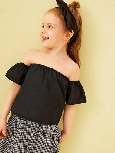 Toddler Girls Off The Shoulder Solid Blouse With Headband