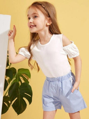Toddler Girls Open Shoulder Keyhole Back Tee